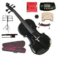 """Merano 16"""" Black Viola with Case and Bow+Extra Set of String, Extra Bridge, Shoulder Rest, Rosin, Metro Tuner, Music Stand, Mute"""