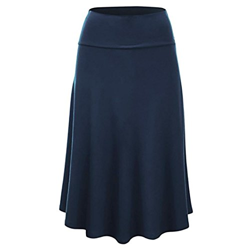FEITONG Womens Solid Flare Midi Skirt Sexy Uniform Pleated ()