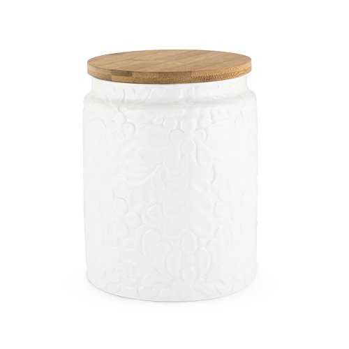- Twine Pantry Textured Ceramic Medium Canister with Airtight Sealing Bamboo Lid, White