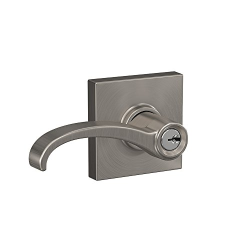 Schlage F51A WIT 619 COL Whitney Lever with Collins Trim Keyed Entry Lock, Satin Nickel