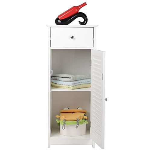 Bonnlo Small Bathroom Cabinet Floor Storage Cabinet Organizer Sturdy Wooden Modern Side Cabinet Furniture with Drawer and Single Shutter Door White