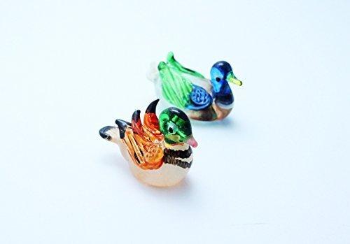 ChangThai Design Sweet lovely Mandarin Duck Handcrafted MINIATURE HAND BLOWN GLASS FIGURINE Collection