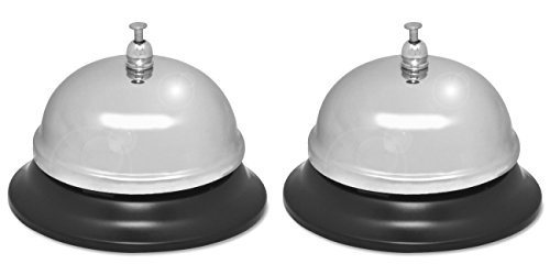 (Sparco Nickel Plated Call Bell, 2 3/4-Inch High, 3 3/8-Inch Base, Chrome/Black (SPR01583), 2 Packs)