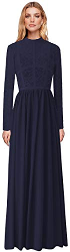 MaliaDress Lace Chiffon Long Sleeve Jewel Mother of Bride Dress Prom Gown M288LF Navy Blue US6