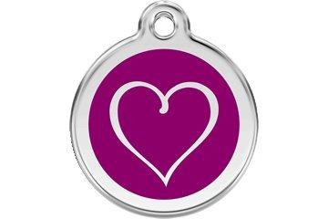 (Red Dingo Custom Engraved Dog ID Tag - Tribal Heart Medium/Purple)