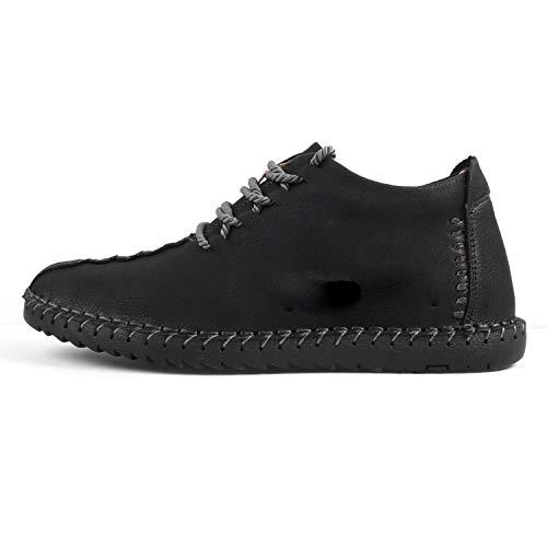 - Keep Warm Winter Men Shoes Moccasin Split Leather Casual Footwear Size 38~47,Black,8.5