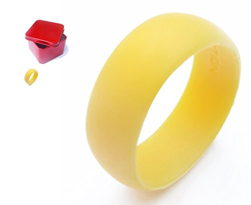 Womens Silicone Wedding Ring Band. Includes Gift Box. Black, Pink, Yellow…Wife Gifts From Husband