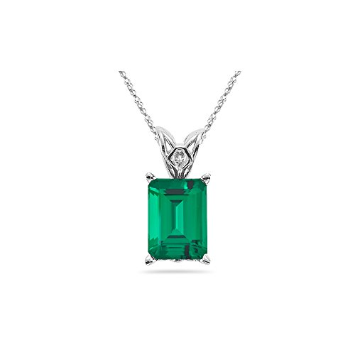 2.57-3.83 Cts of 10x8 mm AAA Emerald Lab Created Emerald Scroll Solitaire Pendant in 14K White Gold ()