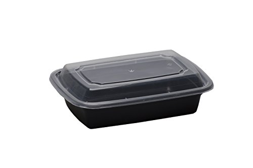 SafePro 24 oz. Black Rectangular Microwavable Container with Clear Lid (Case of (Black Rectangular Bowl)