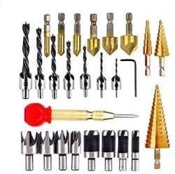 include 8 taglierina per spine LINGSFIRE Set di punte per trapano svasatore da 26 pezzi 7 punte per trapano a tre punte 6 punte per trapano svasatore punta per trapano a cono a 3 fasi