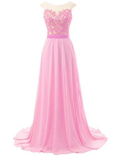 Prom Dresses Long Bridesmaid Dress Lace Evening Gowns Chiffon Open Back Evening Dresses Cap SleevePink US20W