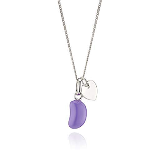 Molly B London | 925 Sterling Silver Girl's Purple Enamel Jelly Bean Heart Necklace