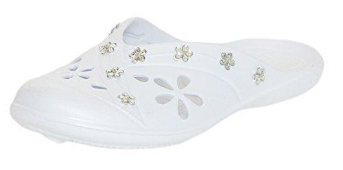 CLEOSTYLE modernas Mujer Zapatillas de baño Zapatos de playa Zuecos Mulas con modernos Piedras decorativas de actual Colección 2017 CL 78 blanco