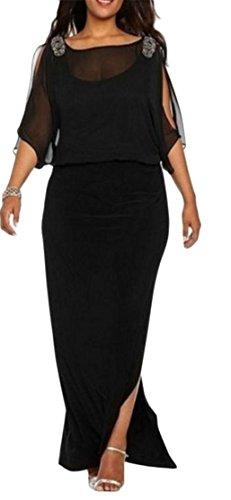 Cromoncent Femmes Mousseline De Fente Lâche Faux Deux Épaule Froide Moulante Noir Longue Robe