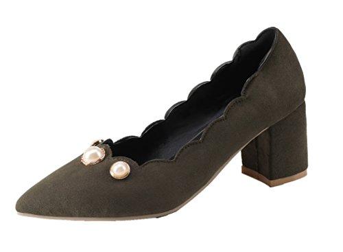 -pointu Frosted Voguezone009 Femmes Chaton Talons À Enfiler Solides Pompes Chaussures Vert Armée