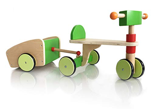 london-kate Deluxe Wooden SCOOTER VEHICLE with TRAILER - Kid