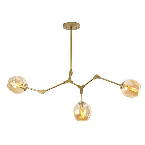 SEOL-LIGHT Nordic Style Smartness Gold Branches 3 Heads Chandeliers Glass Molecules Pendant Light with 3 Light Max 180W for Living Room,Table,Hallway,Dining Room Light Fixture