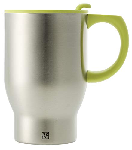JVR Stainless Steel Travel Coffee Mug with Handle and Lid | Double Wall Vacuum Insulated Mug | Portable Coffee Mug Fits in Car Cup Holder (14 Ounce) Thermal Coffee Mug Lime Green