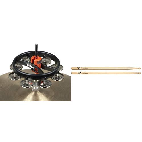 RhythmTech RT7420 Hat Trick G2 Single Row, Nickel Jingles with Vater 5B Wood Tip Hickory Drum Sticks, Pair ()
