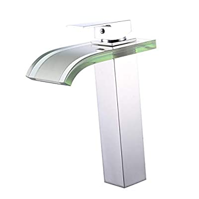 Yannlii LED Chrome Waterfall Bathroom Sink Faucet Water Flow Color Changing Led Faucet Lighting Vessel Faucet Centerset Widespread Modern Single Handle Single Hole Faucets Sprayer Lavatory Faucets Shower Mixer Taps Supply Lines Unique Designer Plumbing Fi