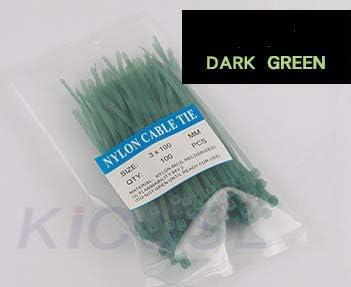 Hicustomer - Bridas de nailon resistentes, multicolor opcional 3*100mm verde oscuro