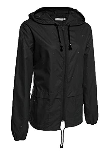 Solid Outdoors Women Jacket Black Up Waterproof Zip GRMO Hooded Color qCxwP6E