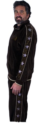 Mens Brown Velour Tracksuit with Silver Rhinestone Stars