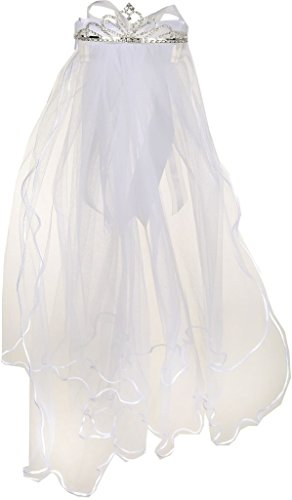 Flower Girl First Communion Veil Two Layers Tulle & Tiara Attach White TR T109]()