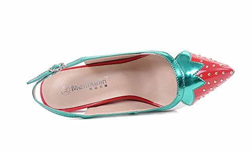 European Cm Sandals 11 heel Women Strawberry Slingback Female Pointed Pump Rivet GLTER High OL Sandals xntHqwq