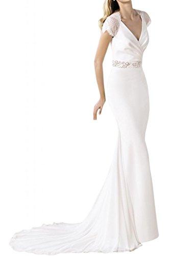 Toscana sposa incantesimo benda V-collo sposa moda Chiffon & punta, principessa per matrimonio con abiti da sposa