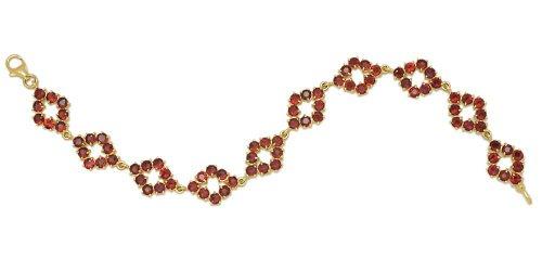 Gioie Bracelet Femme en Or 18 carats Jaune avec Grenat, Cm 18, 14 Grammes