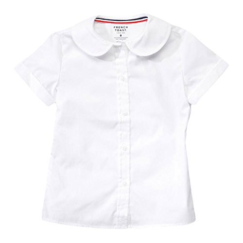 French Toast Womens Short Sleeve Peter Pan Blouse Junior Size 42 Plus White