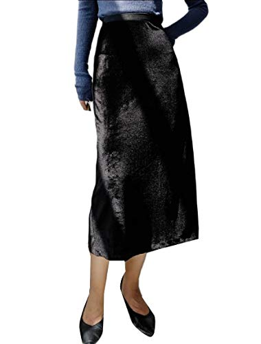 Andopa Womens Velour Below The Knee Fall Winter Slim Classic Flowy Skirt Black OS