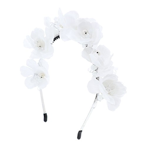 Full Flower Wreath Headband Gold & Crystal Beads Wedding Paegent Party (White)