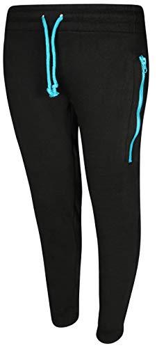 Quad Seven Boy\'s Fleece Jogger Active Pants, Black/Blue Zipper, Size 16/18' ()