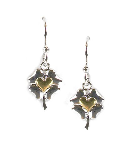 JODY COYOTE Earrings E831 Flourish Collection Heart Silver Gold ()