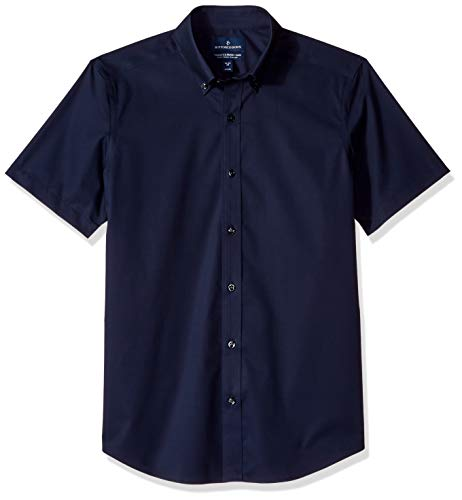 BUTTONED DOWN Men's Tailored Fit Stretch Button-Collar Short-Sleeve Non-Iron Shirt, Navy, 15
