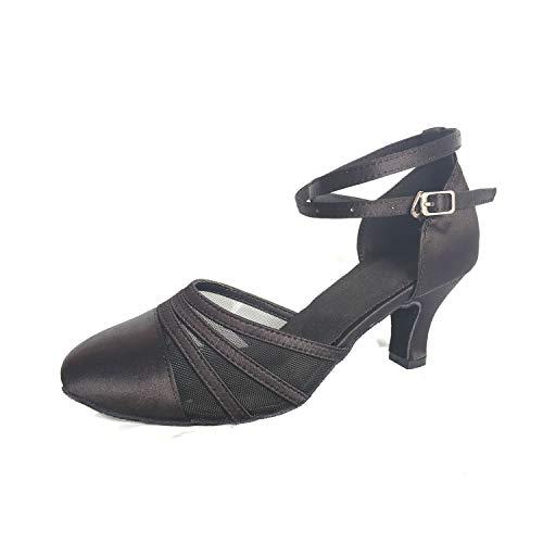 Syrads Zapatos de Baile Latino para Mujer Baile de Salón Tacón Alto Zapatos de Tango Salsa Samba Vals Negro-6cm