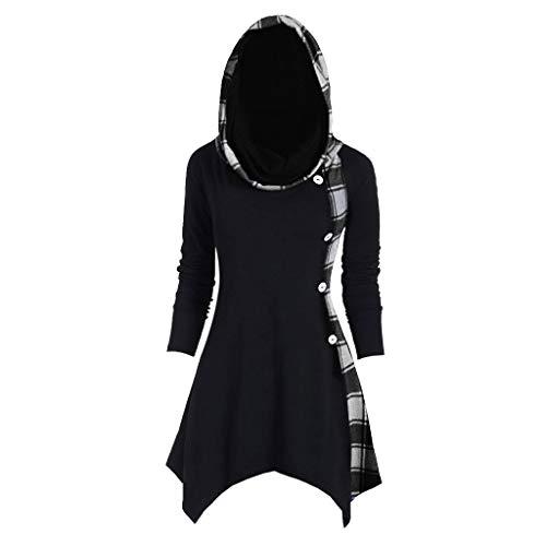 DONTAL Women Tops Plus Size Plaid Convertible Neck Mock Button Handkerchief Irregular Hem Tshirt Black