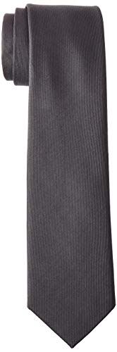 Kenneth Cole REACTION Men's Darien Solid Tie, Charcoal, One - Tie Silk Gray