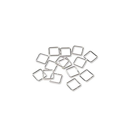 7MM Jump Rings - Square - Sterling Silver Plated (Bright Silver, 50 ()