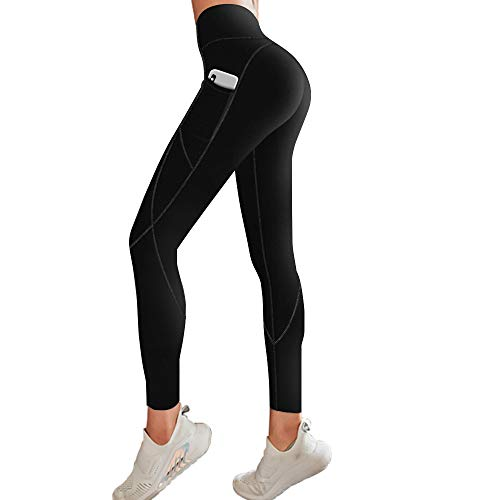 FUNANI High Waisted Leggings for Women, Pockets Yoga Pants for Tummy Control with Non See-Through Material (Black, X-Large)