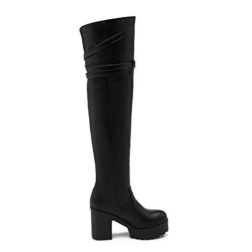 Allhqfashion Women's Pull On High Heels Pu Solid Round Closed Toe Boots Black 4pWde3