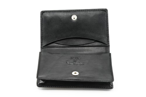 Italian Leather Prima Business &Credit Card Case Wallet (Black)