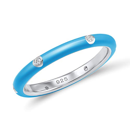 Santuzza 925 Sterling Silver Ring Handmade Enamel Colorful Stackable Rings White Cubic Zirconia Eternity Rings (Blue, 9) ()