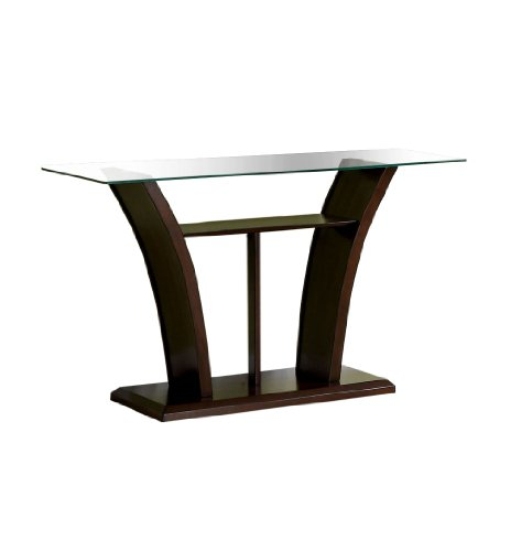Furniture of America Veretta Sofa Table with 10mm Beveled Glass Top, Dark Cherry Finish