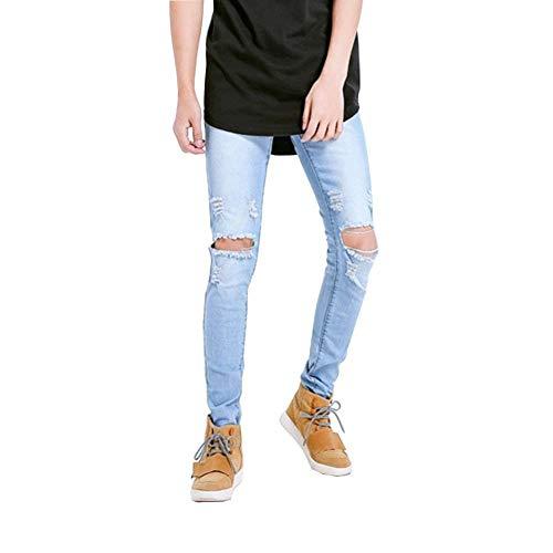 Fit Jeans Stretch Pantaloni Holes Uomo Slim Hellblau14 Fashion Strappato Vintage Biker Distrutto 7HOxBq7
