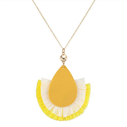 GLBCC Statement Tassel Pendant Necklace - Handmade Leather Fan Charm Fringe Necklace Boho Teardrop Thread Tassel Long Chain Necklace (Yellow)