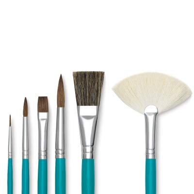 Royal Brush Economy Sable Ceramic Handle Paint Brush Classroom Pack, Assorted Size, Blue, Set of 72 by ROYAL BRUSH