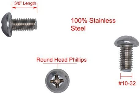 Fine Thread 100pc 304 18-8 Stainless Steel #10-32 X 3//8 Stainless Phillips Round Head Machine Screw, by Bolt Dropper